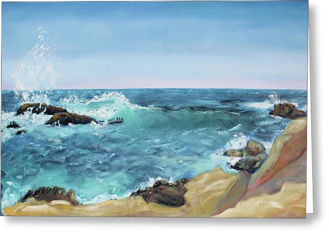 Sonoma County Paintings Greeting Cards - Splashing Wave  Gerstle Cove Park Greeting Card by Asha Carolyn Young