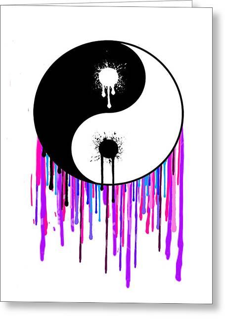 Ying Greeting Cards - Splashing Ying Yang Greeting Card by Manik Designs