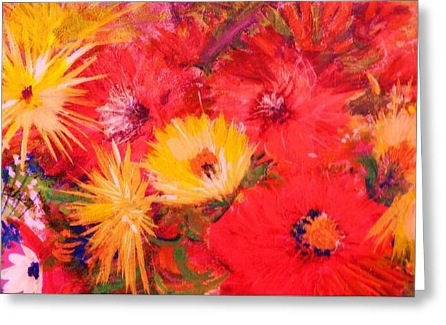 Splashy Paintings Greeting Cards - Splashy Floral II Greeting Card by Anne-Elizabeth Whiteway