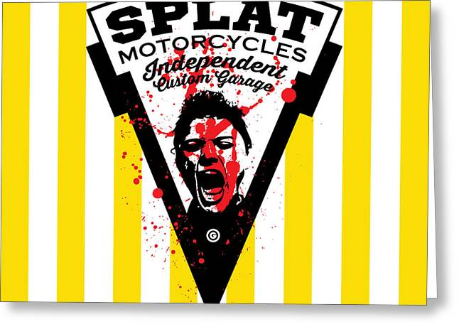 Engraving Digital Greeting Cards - Splat Motorcycles Greeting Card by Gary Grayson