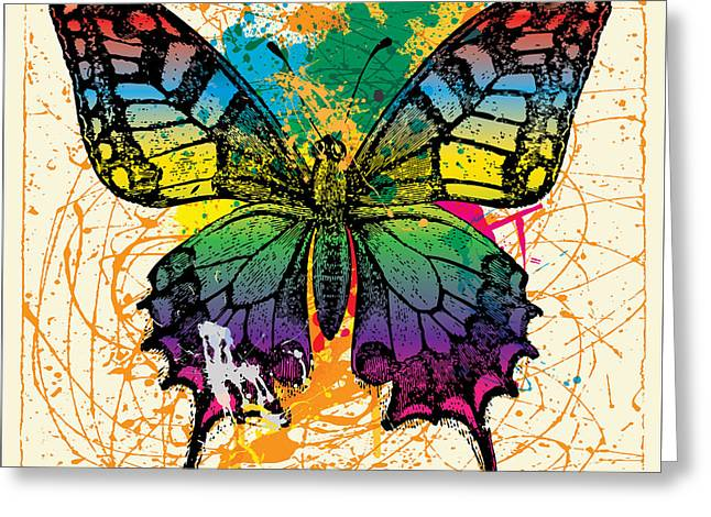 Pop Can Greeting Cards - Splatter Butterfly Greeting Card by Gary Grayson