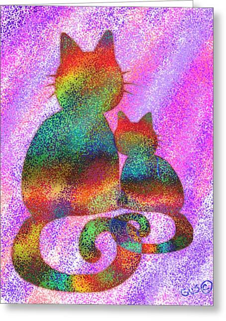 Cat Drawings Greeting Cards - Splatter Cats 2 Greeting Card by Nick Gustafson