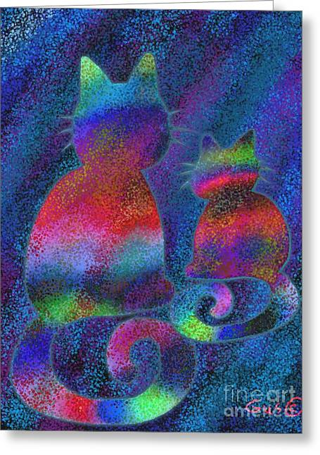 Cat Drawings Greeting Cards - Splatter Cats Greeting Card by Nick Gustafson