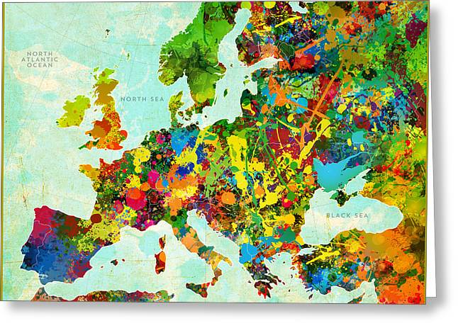 Splatter Paint Greeting Cards - Splatter Map of Europe Greeting Card by Gary Grayson