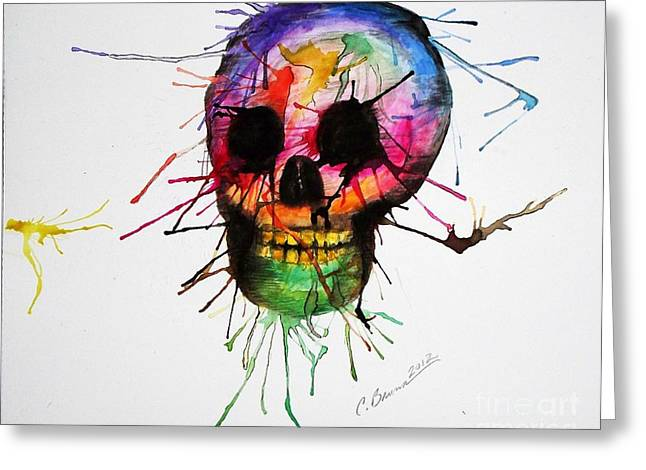 Christy Bruna Greeting Cards - Splatter Skull Greeting Card by Christy Bruna