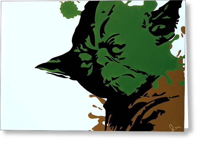 Master Yoda Greeting Cards - Splatter Yoda Greeting Card by Ian  King