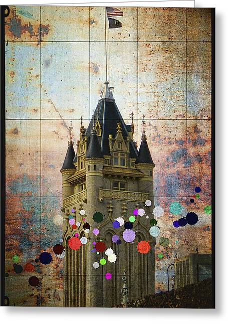 Public Jail Greeting Cards - Splattered County Courthouse Greeting Card by Daniel Hagerman