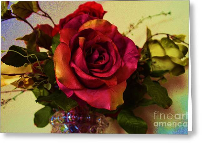 Blue And Green Greeting Cards - Splendid Painted Rose Greeting Card by Luther   Fine Art