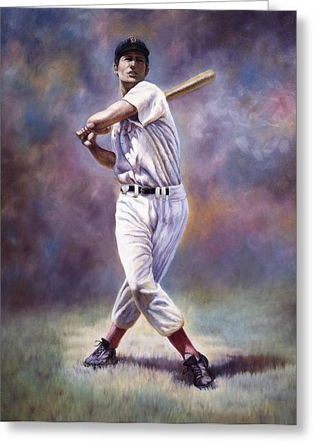 Baseball Field Mixed Media Greeting Cards - Splendid Splinter Greeting Card by Gregory Perillo