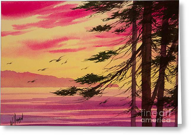 Sunset Greeting Cards Paintings Greeting Cards - Splendid Sunset Bay Greeting Card by James Williamson