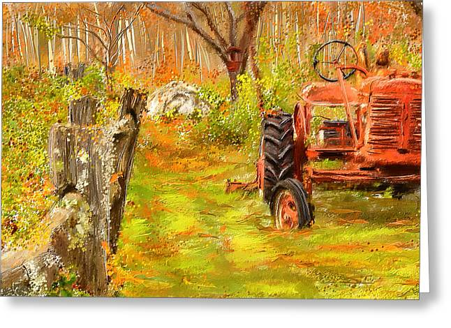 Vermont Village Greeting Cards - Splendor of the Past - Red Tractor Art Greeting Card by Lourry Legarde