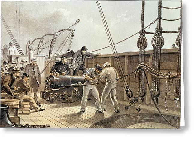 Crew Greeting Cards - Splicing The Trans-atlantic Telegraph Cable After The First Accident On Board The Great Eastern Greeting Card by Robert Dudley
