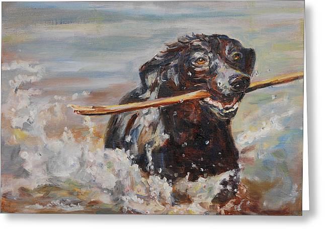 Artist Playing With Dog. Dog Greeting Cards - Splish Splash Greeting Card by Carol  DeMumbrum