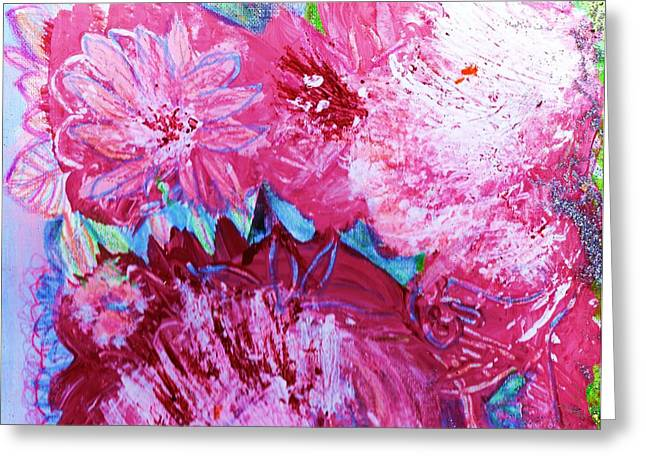 Splashy Paintings Greeting Cards - Splishy Splashy Pink and Jazzy Greeting Card by Anne-Elizabeth Whiteway