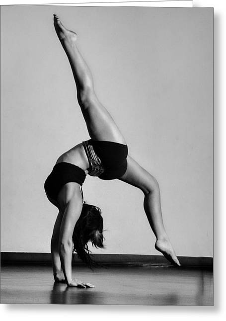 Contortions Greeting Cards - Split Handstand Greeting Card by Monte Arnold