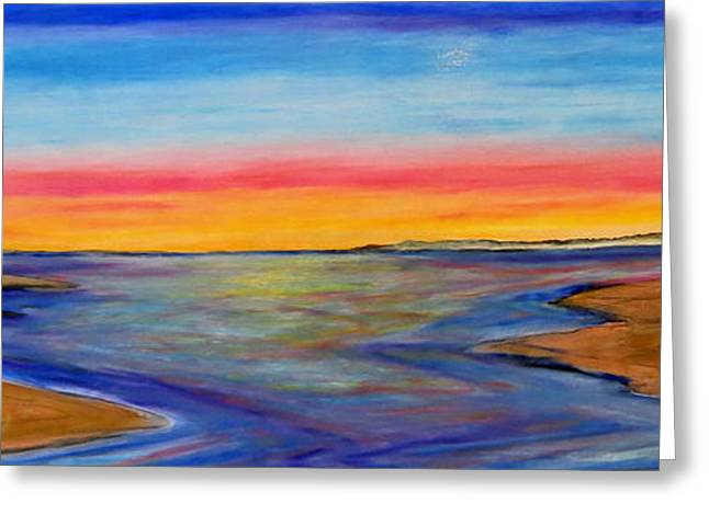 Sand Fences Pastels Greeting Cards - Split in the bay- Sunset Greeting Card by Daniel Dubinsky