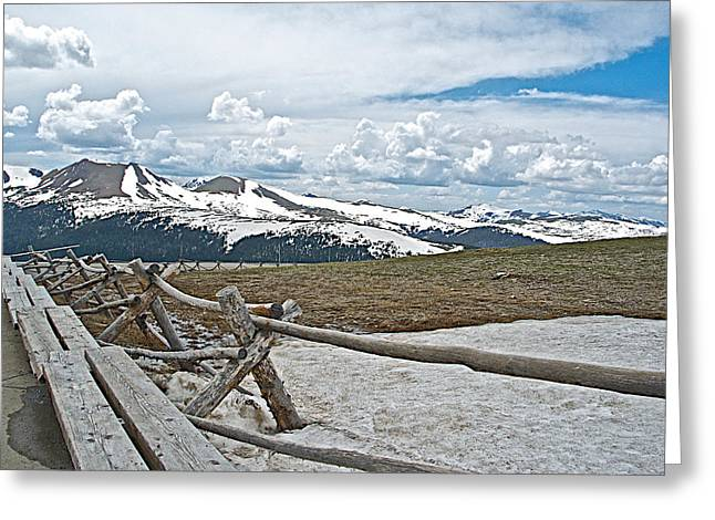 Split Rail Fence Greeting Cards - Split Rail Fence near Alpine Visitors Center in Rocky Mountain NP-CO Greeting Card by Ruth Hager