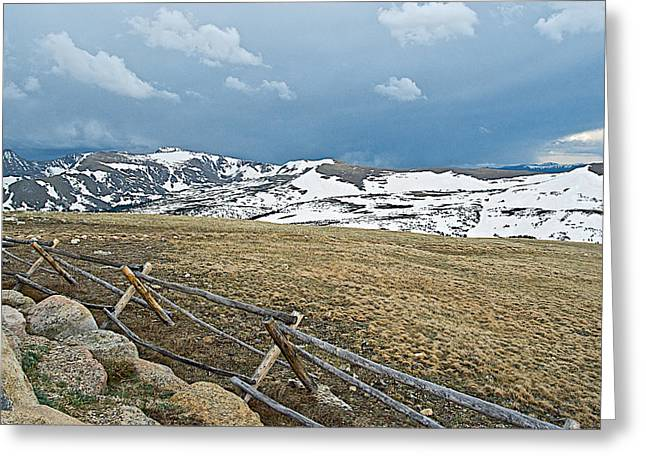 Split Rail Fence Greeting Cards - Split Rail Fence on East Side of Trail Ridge Road in Rocky Mountain NP-CO Greeting Card by Ruth Hager