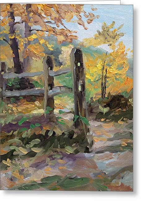 Indiana Autumn Greeting Cards - Split Rail Fence Greeting Card by Spencer Meagher
