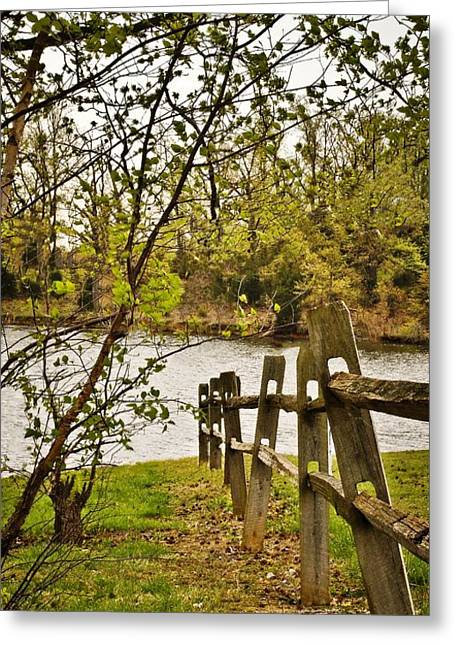 Split Rail Fence Greeting Cards - Split Rail Fence to Water Greeting Card by Greg Jackson