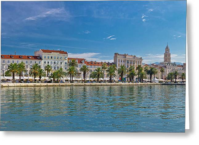 Cathedral Rock Greeting Cards - Split Riva view with Diocletian palace Greeting Card by Dalibor Brlek