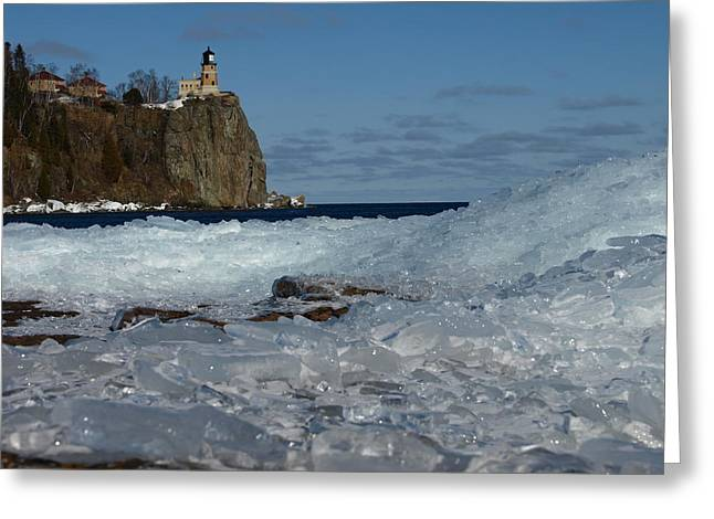 Peterson Nature Photography Greeting Cards - Split Rock Ice Mountain Greeting Card by James Peterson