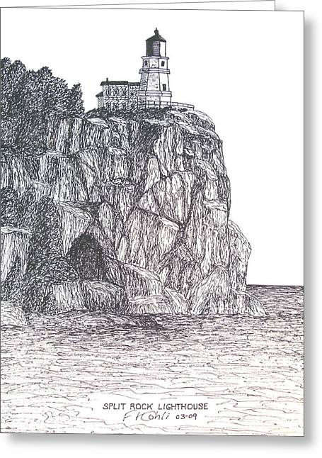 Split Drawings Greeting Cards - Split Rock Light Greeting Card by Frederic Kohli