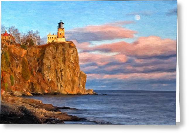 North Shore Greeting Cards - Split Rock Lighthouse Afternoon Greeting Card by Michael Pickett