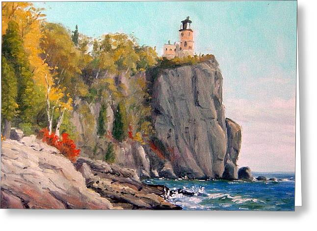 Split Rock Lighthouse Greeting Card by Rick Hansen