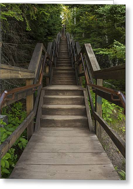 Wooden Stairs Greeting Cards - Split Rock Stairs Greeting Card by John Brueske