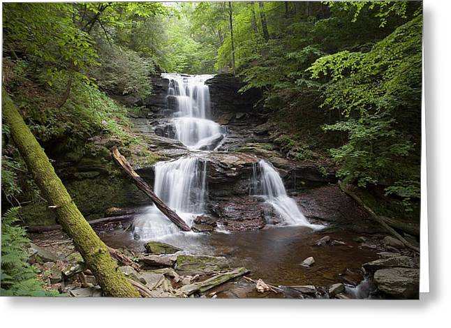 Tuscarora Greeting Cards - Split Summer Flow Over Tuscaroras Ledge  Greeting Card by Gene Walls
