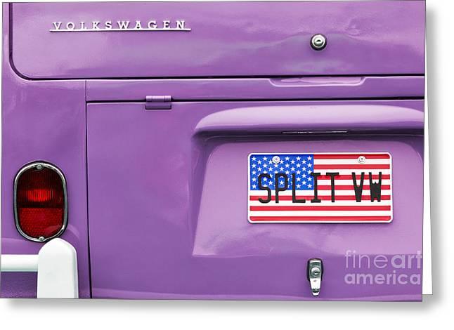 Star-spangled Banner Greeting Cards - Split VW Campervan Greeting Card by Tim Gainey