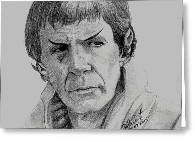 Spock Drawings Greeting Cards - Spock 1 Greeting Card by Anthony Verburgt