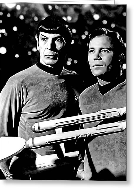 Shatner Greeting Cards - SPOCK and CAPTAIN KIRK Greeting Card by Daniel Hagerman