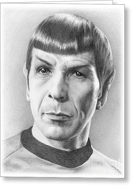 Spock Drawings Greeting Cards - Spock - Fascinating Greeting Card by Liz Molnar