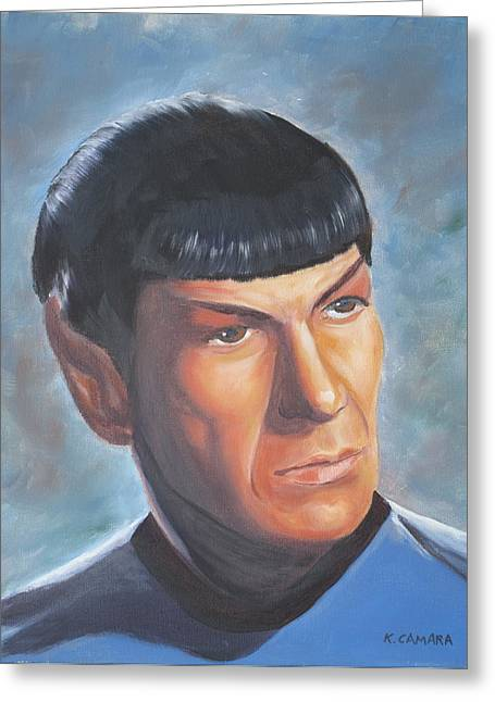 Trekkie Greeting Cards - Spock Greeting Card by Kathie Camara