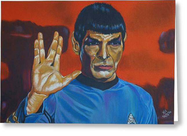 Leonard Nimoy Pastels Greeting Cards - Spock Greeting Card by Kevin Hubbard