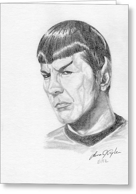 Spock Drawings Greeting Cards - Spock Greeting Card by Lana Tyler