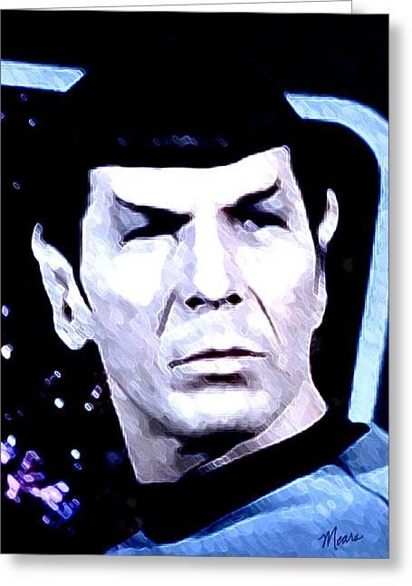 Enterprise Digital Art Greeting Cards - Spock Greeting Card by Linda Mears