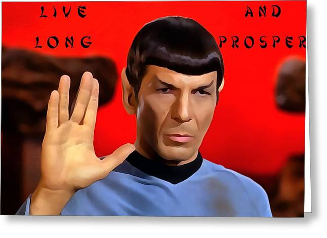 Enterprise D Greeting Cards - Spock Live Long And Prosper Greeting Card by Dan Sproul