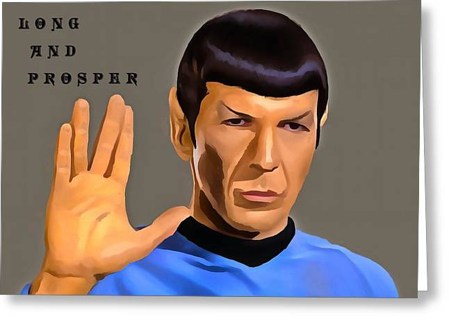 Enterprise Mixed Media Greeting Cards - Spock Live Long Greeting Card by Dan Sproul
