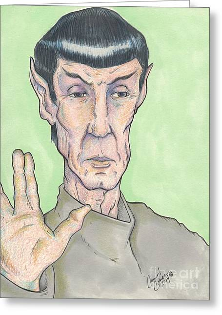 Spock Drawings Greeting Cards - Spock LLAP Greeting Card by Carrie Ann Correa