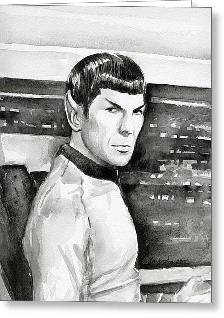 Nimoy Greeting Cards - Spock Greeting Card by Olga Shvartsur