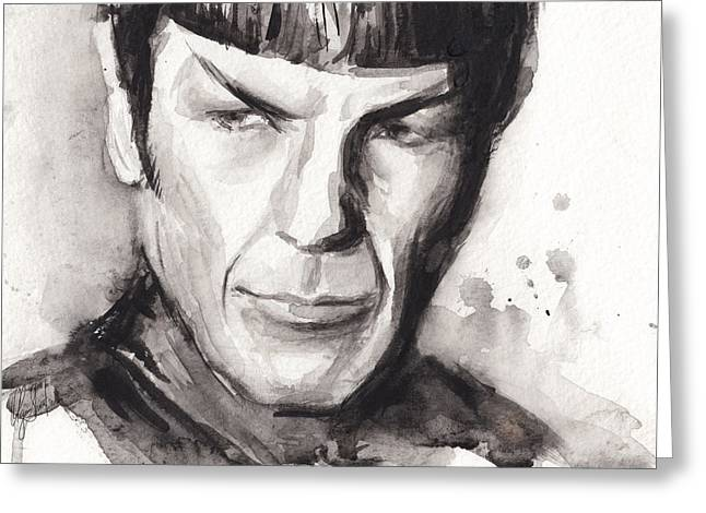 Long-lived Greeting Cards - Spock Portrait Watercolor Star Trek Fan Art Greeting Card by Olga Shvartsur