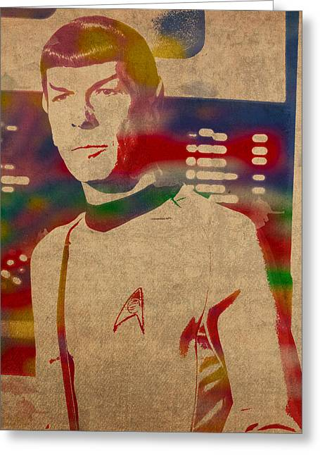 Nimoy Greeting Cards - Spock Star Trek Leonard Nimoy Watercolor Portrait On Worn Distressed Canvas Greeting Card by Design Turnpike