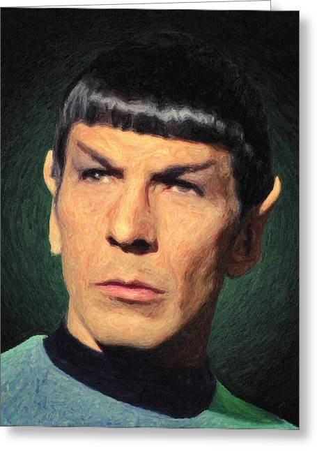 Enterprise Paintings Greeting Cards - Spock Greeting Card by Taylan Soyturk