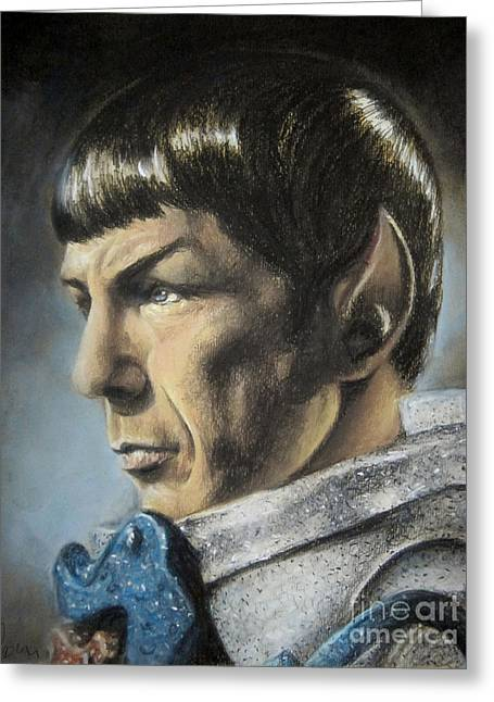 Characters Pastels Greeting Cards - Spock - The Pain of Loss Greeting Card by Liz Molnar