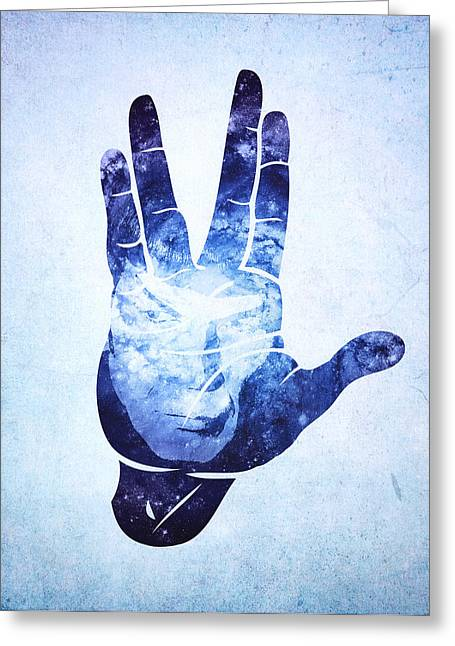 Enterprise Digital Art Greeting Cards - Spocks Hand Leonard Nimoy Geek Tribute Greeting Card by Philipp Rietz