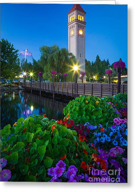 Streetlight Greeting Cards - Spokane Clocktower by Night Greeting Card by Inge Johnsson
