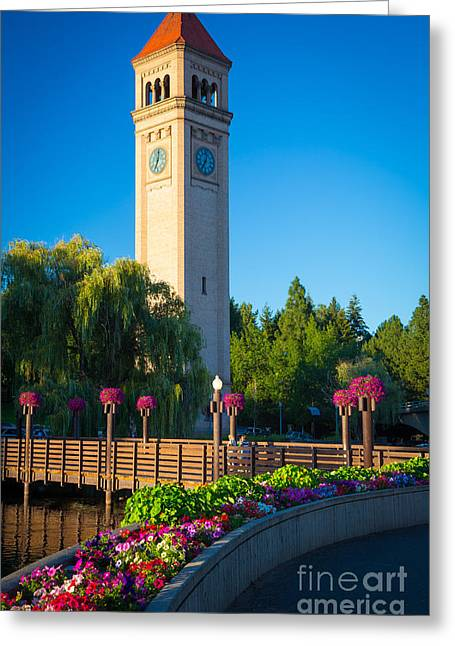 Spokane Greeting Cards - Spokane Clocktower Greeting Card by Inge Johnsson